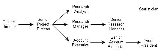 Typical career path within the market research industry